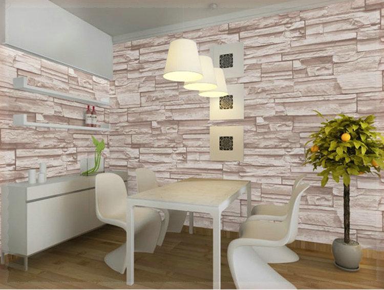 Gaya cina ruang makan desain 3D wallpaper batu bata latar belakang dinding vinyl wallpaper modern untuk
