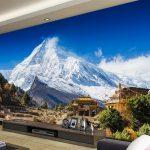 Wallpaper Ruang Tamu Motif Alam Pegunungan